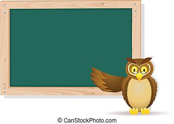 Owl cartoon and board