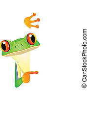 Frog with bank sign - Vector illustration of frog with blank...