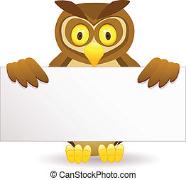 Owl cartoon and blank sign - Vector illustration of owl...