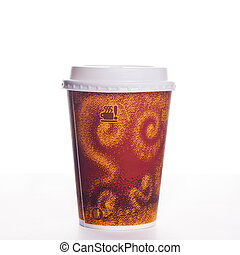 Cup of take-out coffee on a white background