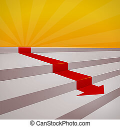 Red arrow on steps - Decreasing diagram of red arrow and...