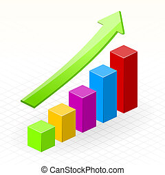 Business Growth Success Chart - Gaining green arrow and...