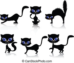 Black cat  - Vector illustration of black cat collection
