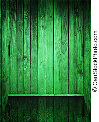 Green Wood panel and shelf vertical
