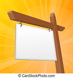 Brown Real Estate Sign - Vector Illustration of Brown Blank...