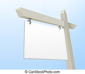 White Real Estate Sign - Vector Illustration of White Blank...