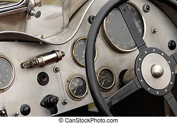 Detail of a vintage racing car - Cockpit detail of an...