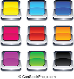 square 3d buttons - Blank 3d square buttons Vector