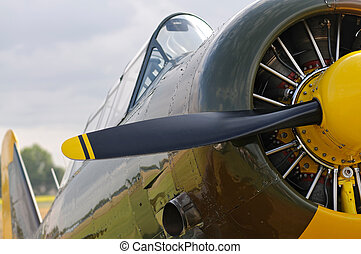 WWII Aircraft with propeller - Front view of a vintage WWII...
