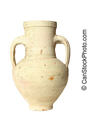 Isolated Vase - A weathered vase isolated on a chite...