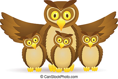 Owl cartoon family - Vector illustration of owl with three...