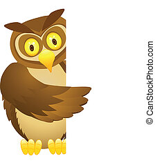 Owl cartoon with blank sign - Vector illustration of funny...