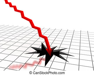 Red arrow breaking floor. Concept of bankruptcy, financial...