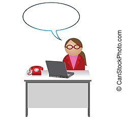 Female worker with blank speech bubble for own text