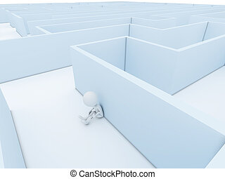 A person stuck in a maze trying to think of a way out