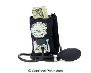 Squeezing Money With Blood Pressure Cuff - Blood Pressure...