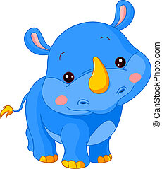 Fun zoo. Rhino - Fun zoo. Illustration of cute Rhino