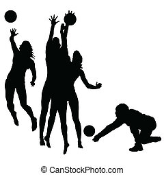 woman play volleyball silhouette - woman play volleyball...