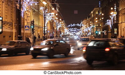 Traffic on a Nevsky street in St Petersburg Russia at night...