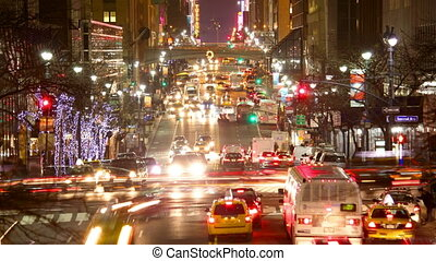 Urban Traffic - New York City Manhattan street view with...