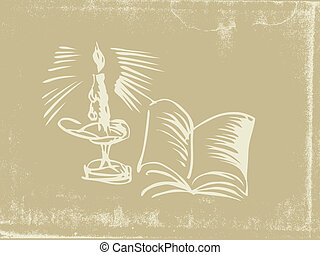 candlestick silhouette on old paper, vector illustration