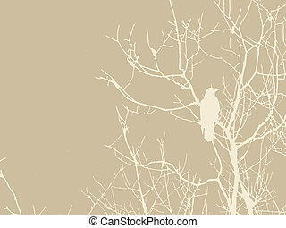 crow silhouette on brown background, vector illustration