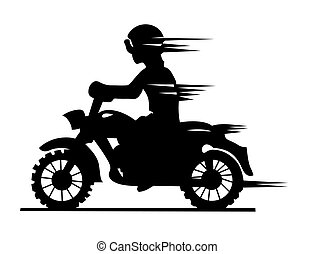 motorcyclist silhouette on white background, vector...