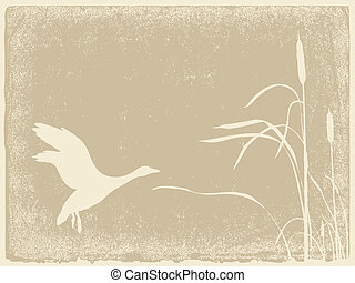 duck silhouette on yellow background, vector illustration