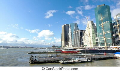 Lower Manhattan Seaport and Financial District in New York...