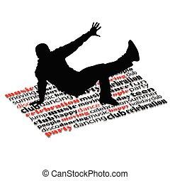 break dance man on word vector illustration
