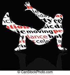 break dance man with word illustration