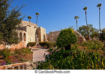 Mission San Juan Capistrano Church Ruins California Statue...