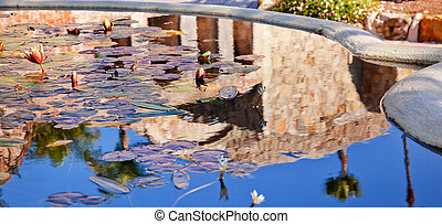 The Fountain Pool Reflection Abstract in front of Mission San Juan Capistrano Church Ruins in California.  The Mission was founded in 1775, and the church was destroyed in 1812 by earthquake.