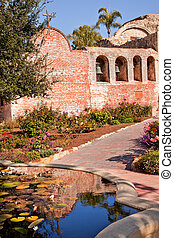 Fountain Pool Bells Mission San Juan Capistrano Church Ruins Ros