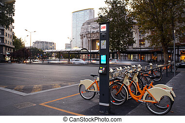 Bicycle sharing station, Milan - Bicycle sharing station...