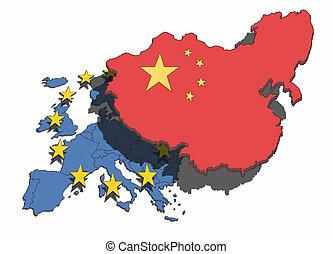 China Overshadows Europe - Illustration of China...