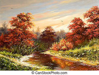 Autumn landscape with the river
