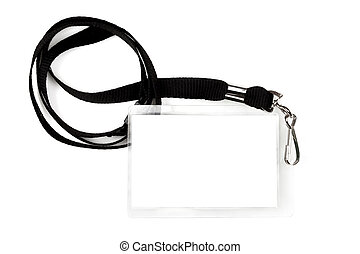 Blank Pass on Lanyard - Blank pass or ID tag on a black...
