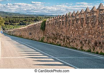 Medieval wall, Monastery of Santa Maria de Poblet,