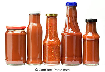 ketchup bottles - four ketchup bottles isolated on white