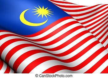 Flag of Malaysia. Close Up.