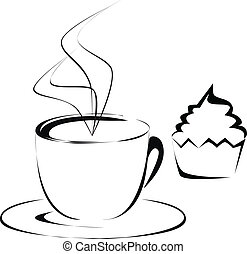Cup of coffee and cupcake outline illustration