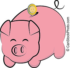 Piggy bank  - Cute pig bank outline illustration
