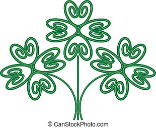 Floral Four Leaf Clover Design - abstract floral four leaf...