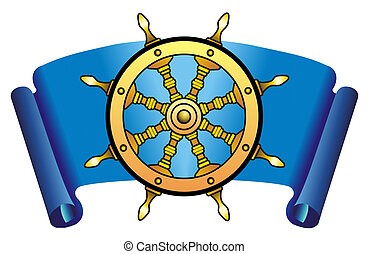 Steering wheel - Sea steering wheel on a dark blue...