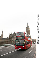 Double decker bus and big ben - Red double decker bus in...