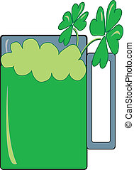 Green Beer With Four Leaf Clovers