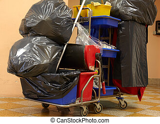 Garbage bags - Blach garbage bags on janitor cart