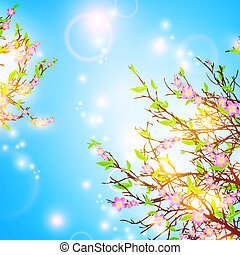 Spring background - bright spring background with cherry...