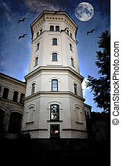 White tower - dilapidated white tower with bats and moon.
